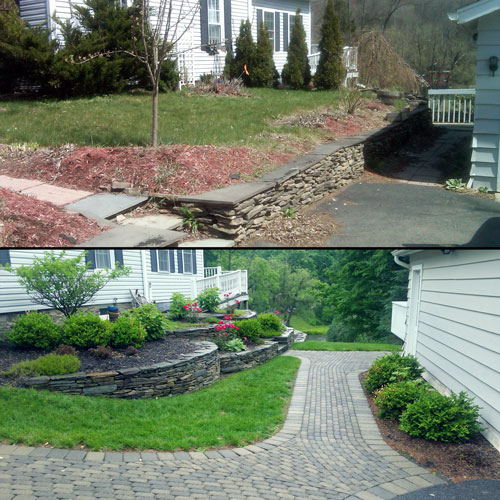 Landscape renovation before and after example.