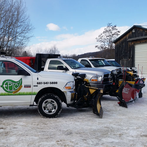 Snow plows, salters, and other snow removal equipment owned by Epic Landscapes, Inc.